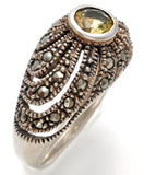 Sterling Silver Citrine & Marcasite Ring Size 8.5 - The Jewelry Lady's Store