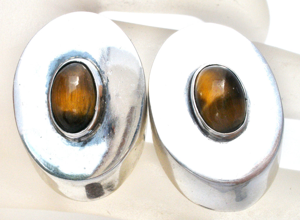 Sterling Silver Cufflinks with Tiger's Eye Gemstones - The Jewelry Lady's Store