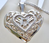 "Sterling Silver Diamond Cut Heart Necklace 18"" - The Jewelry Lady's Store"