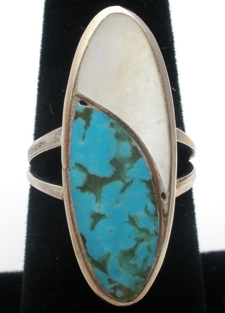 Sterling Silver EE Ring with Turquoise & MOP - The Jewelry Lady's Store