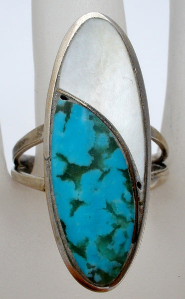 Sterling Silver Ee Ring With Turquoise Amp Mop The Jewelry Lady S Store