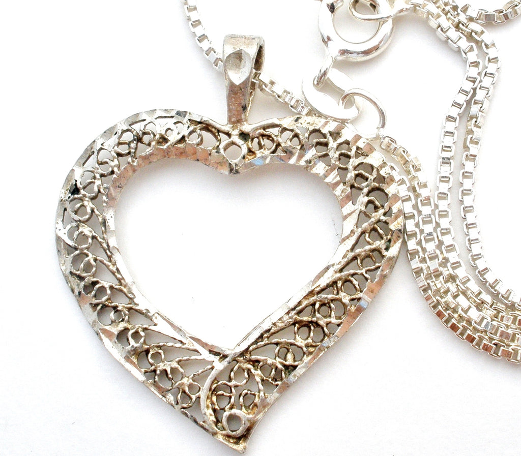 Sterling Silver Filigree Heart Pendant Necklace - The Jewelry Lady's Store