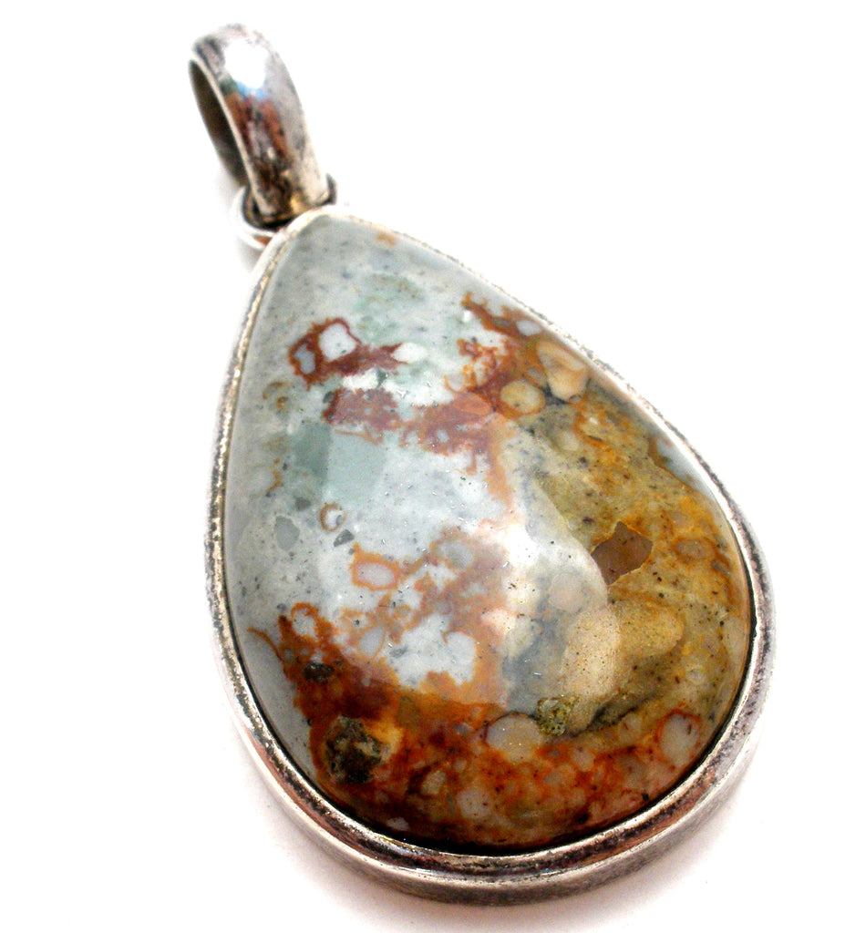 Sterling Silver Jasper Pendant Vintage - The Jewelry Lady's Store