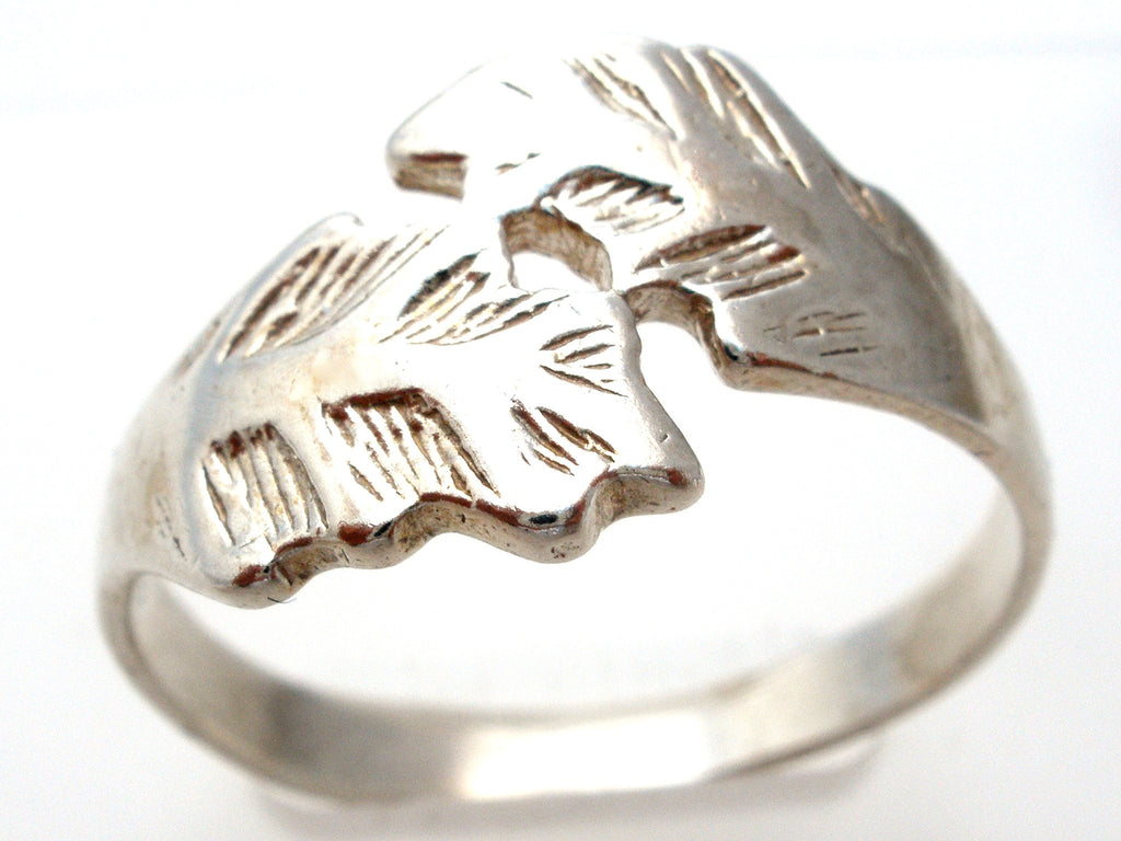 Sterling Silver Leaf Ring Size 11.5 Vintage - The Jewelry Lady's Store - 1
