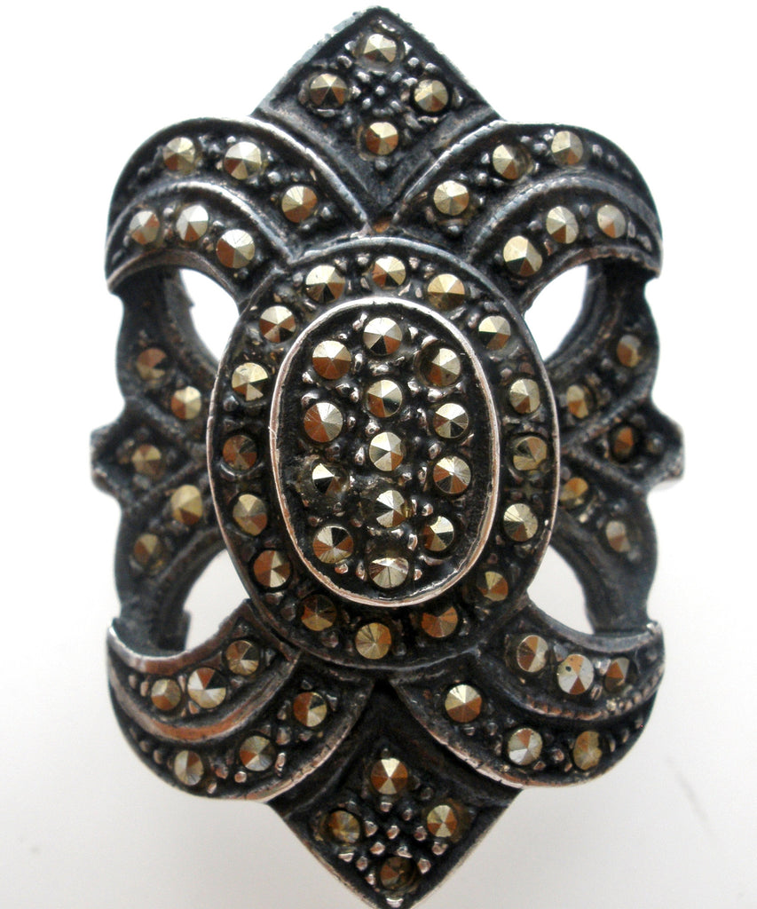 Sterling Silver Marcasite Ring Size 5.5 - The Jewelry Lady's Store