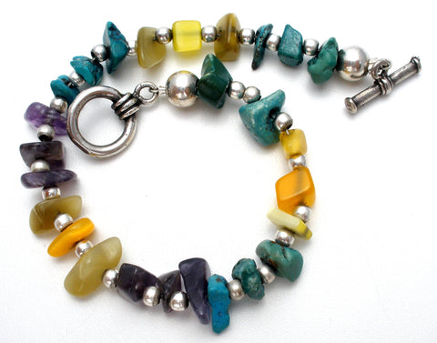 Sterling Silver Nugget Bead Gemstone Bracelet 7.5""