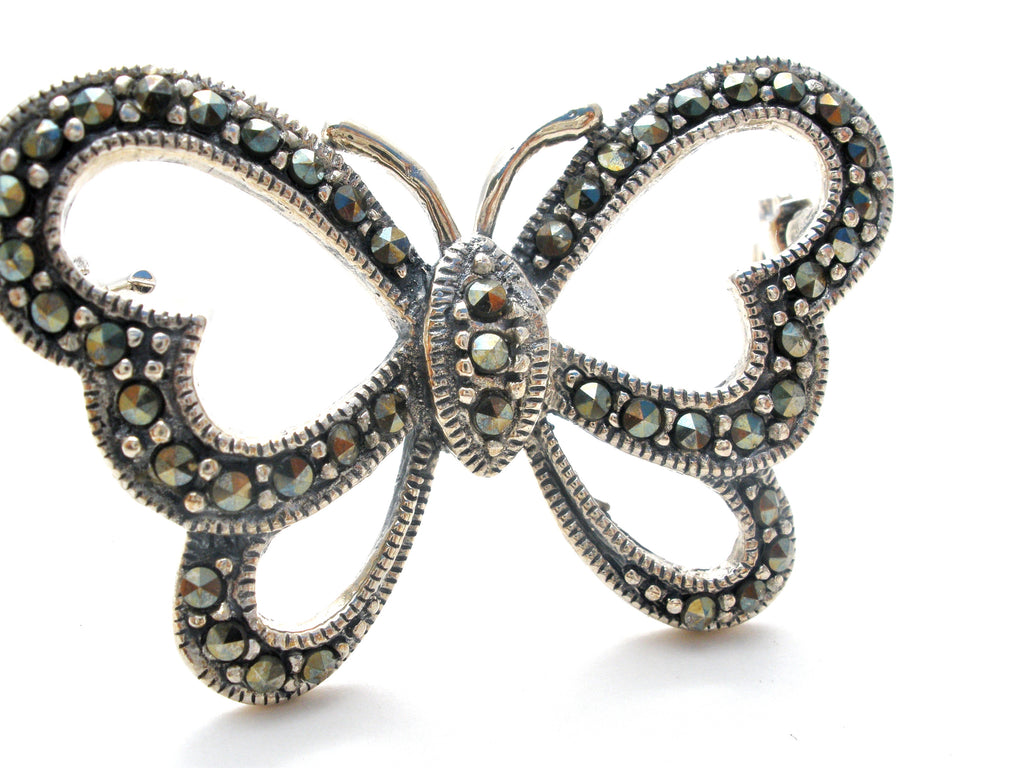 Sterling Silver Open Work Butterfly Brooch Pin - The Jewelry Lady's Store
