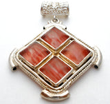 Sterling Silver Pendant with Pink Glass Stones - The Jewelry Lady's Store