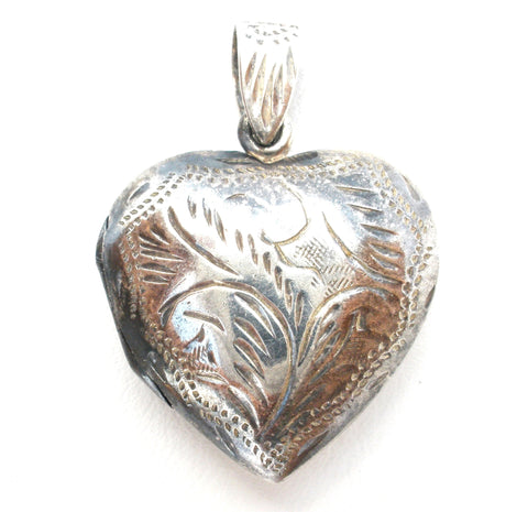 Sterling Silver Picture Heart Locket Necklace Pendant