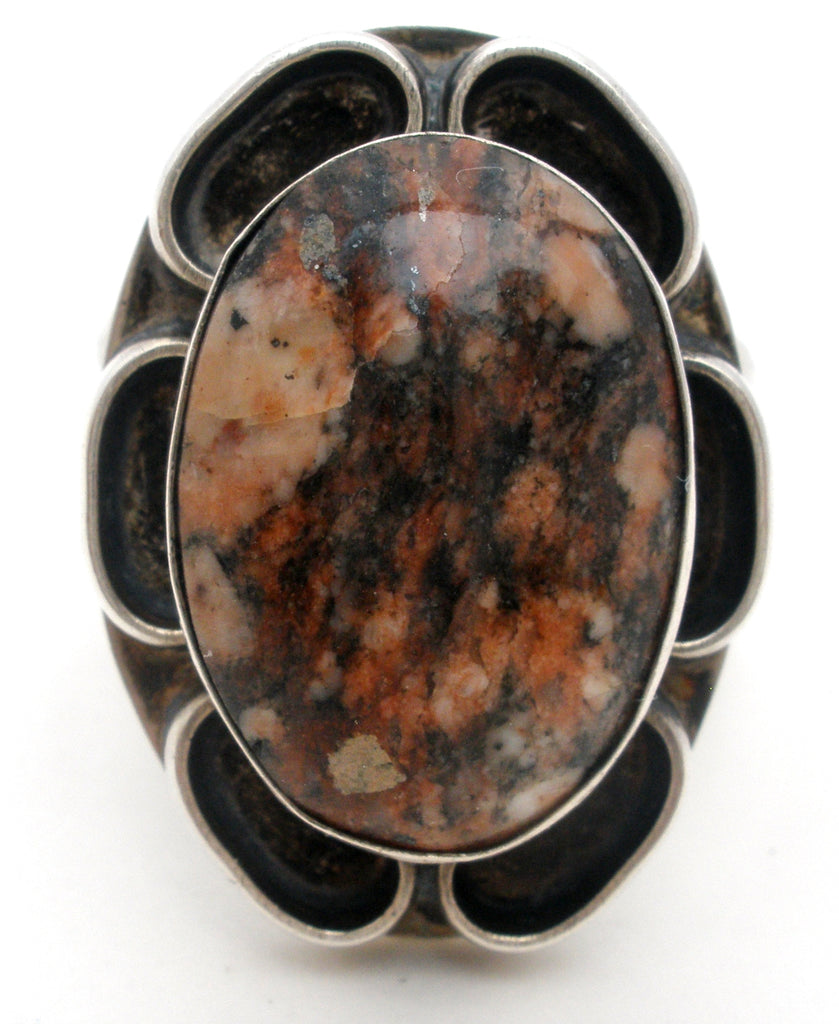Sterling Silver Ring with Jasper Gemstone Vintage - The Jewelry Lady's Store