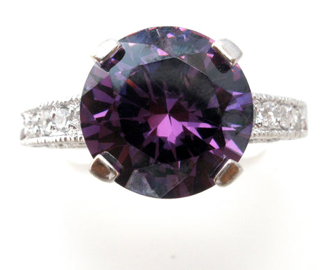 Sterling Silver Ring with Purple Cubic Zirconia Size 7
