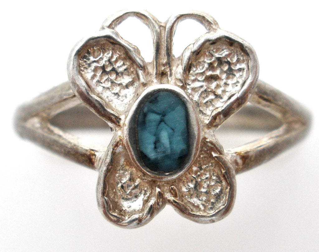 Sterling Silver Turquoise Butterfly Ring Size 5.5 Vintage - The Jewelry Lady's Store