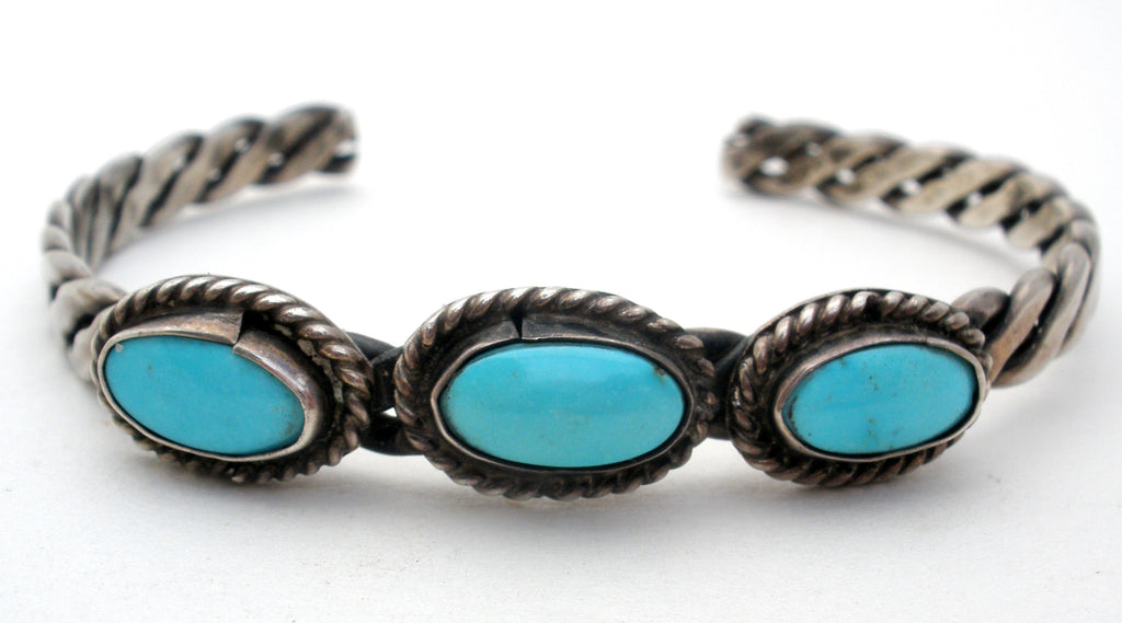 Sterling Silver Turquoise Cuff Bracelet Vintage - The Jewelry Lady's Store
