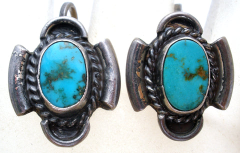 Sterling Silver Turquoise Earrings Vintage