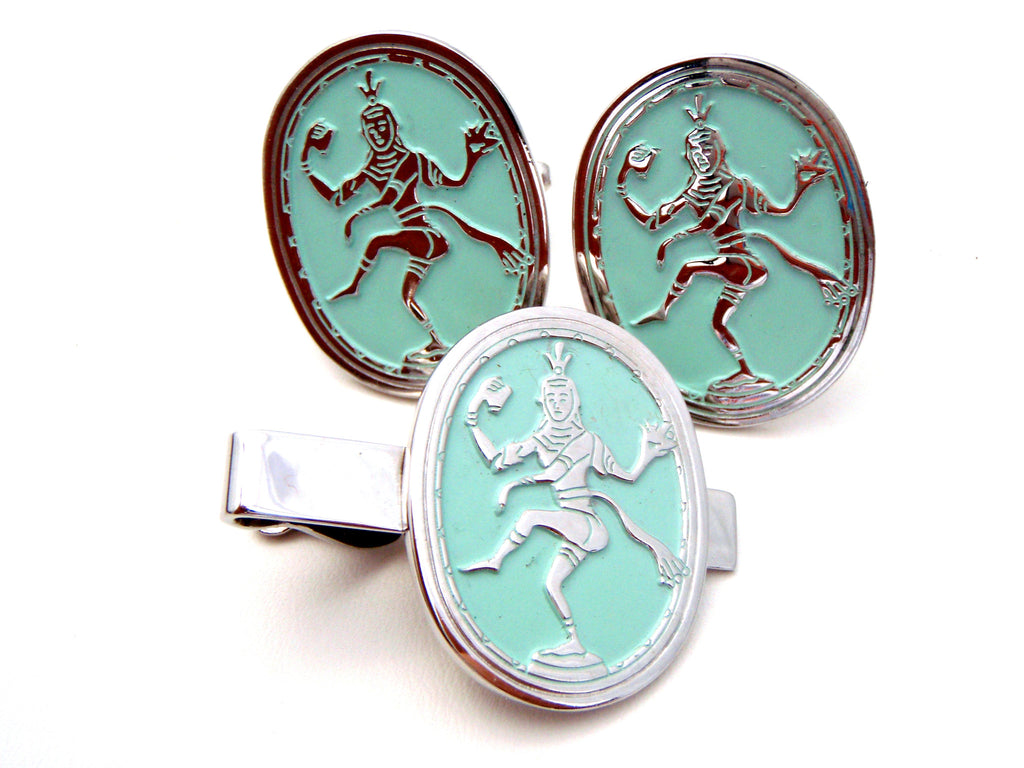 Swank Siam Dancer Cufflinks & Tie Clasp - The Jewelry Lady's Store