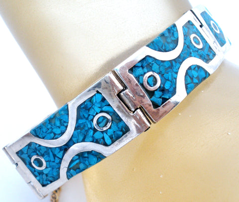 Taxco Sterling Silver Bracelet with Mosaic Turquoise