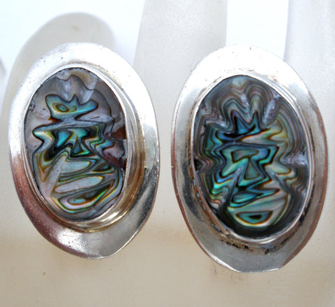 Sterling Silver Carved Abalone Shell Earrings Vintage