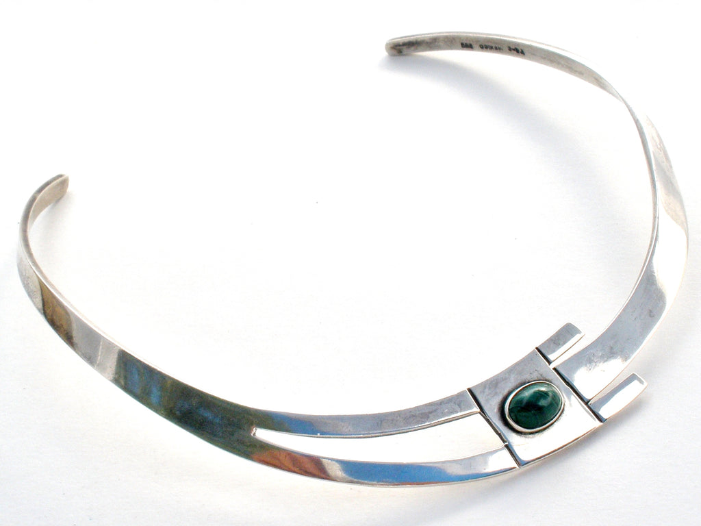 Taxco Sterling Silver Malachite Collar Necklace - The Jewelry Lady's Store