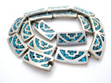 Taxco Sterling Silver Necklace with Inlay Turquoise - The Jewelry Lady's Store