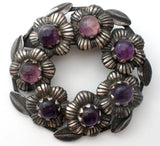 Taxco 980 Silver Amethyst Wreath Brooch Vintage - The Jewelry Lady's Store