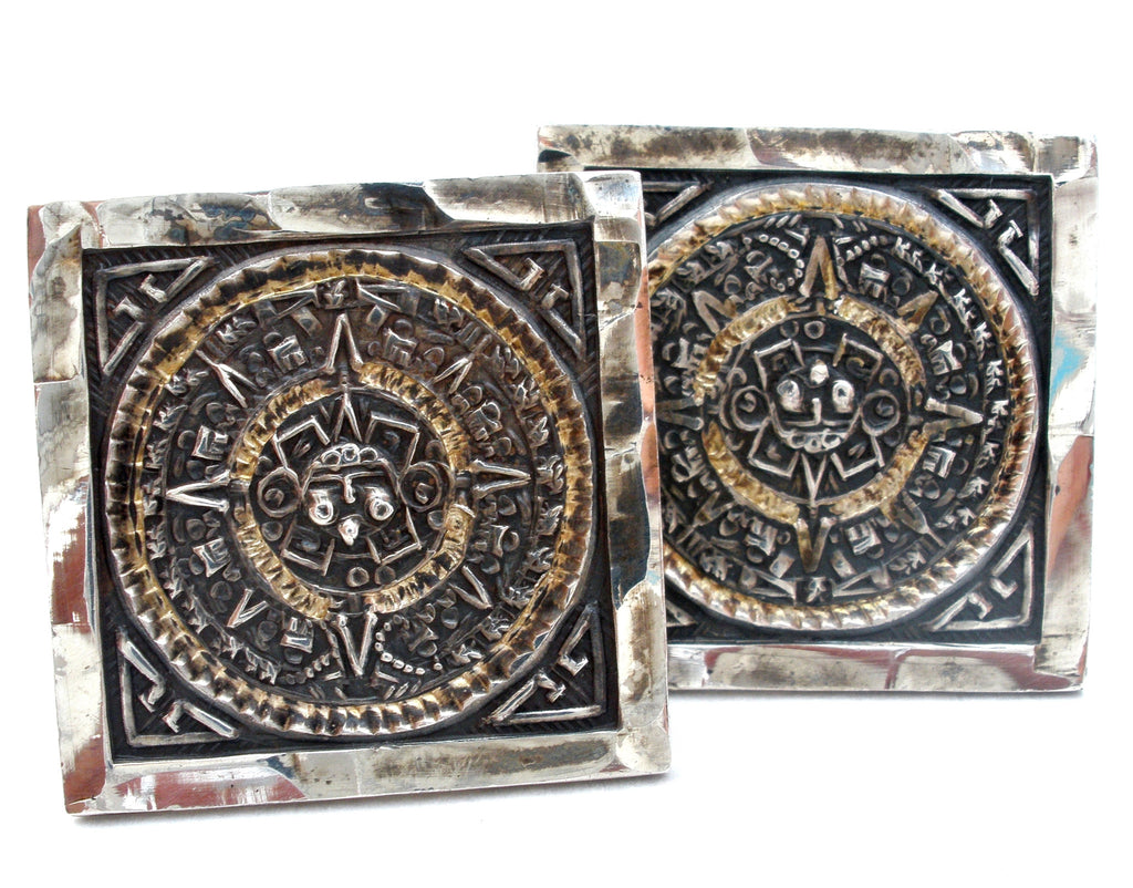 Taxco Mayan Aztec Calendar Cuff Links Vintage - The Jewelry Lady's Store
