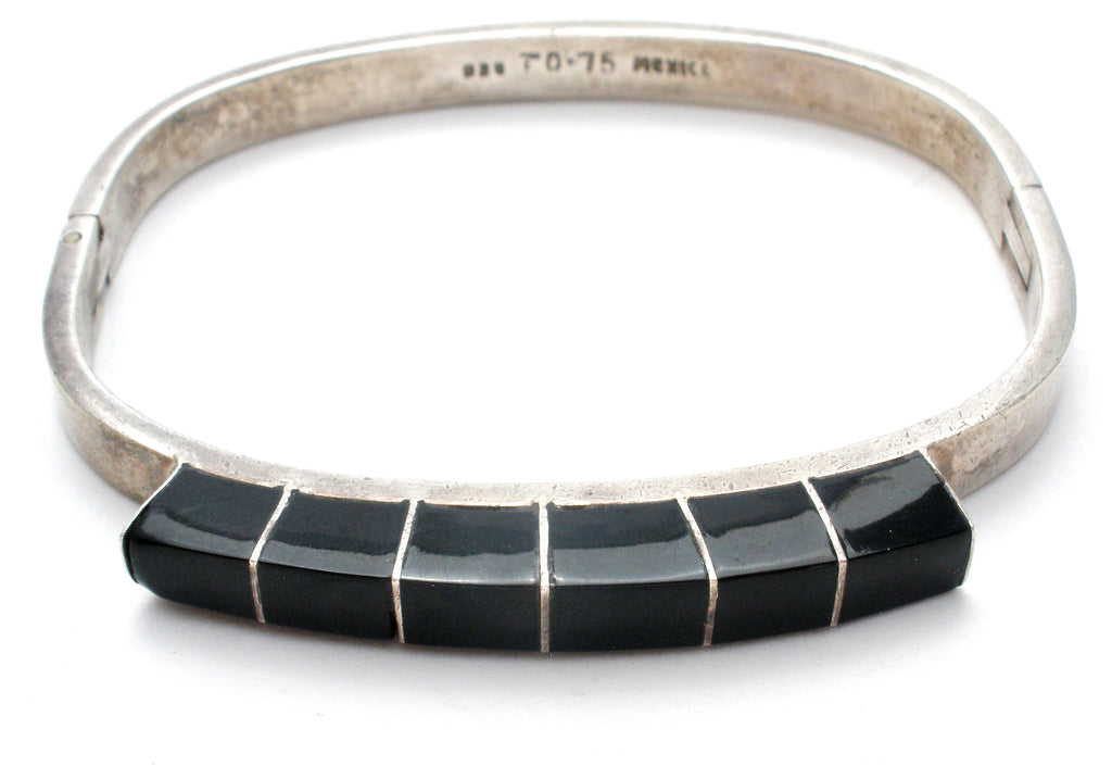 Taxco Sterling Silver Black Onyx Bangle Bracelet - The Jewelry Lady's Store