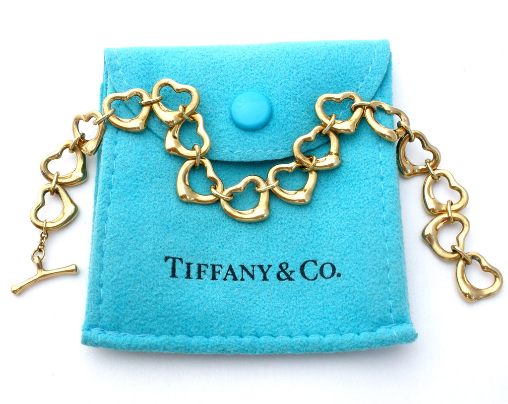 Tiffany & Co 18K Gold Open Heart Bracelet Peretti - The Jewelry Lady's Store