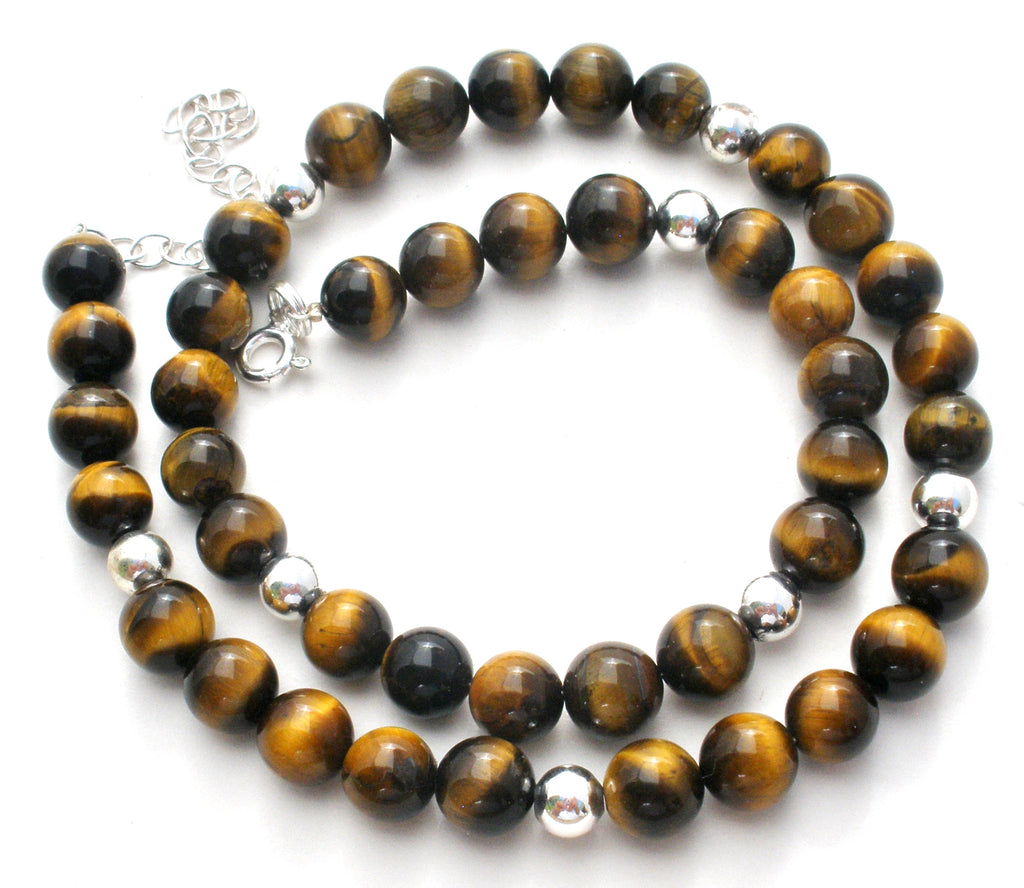 Tiger's Eye Bead Necklace Sterling Silver - The Jewelry Lady's Store
