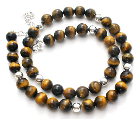 Tiger's Eye Bead Necklace Sterling Silver