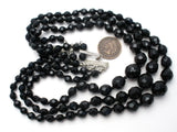 Triple Strand Black Glass Bead Necklace Austria - The Jewelry Lady's Store