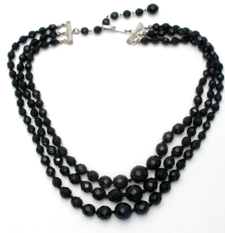 Triple Strand Black Glass Bead Necklace Austria