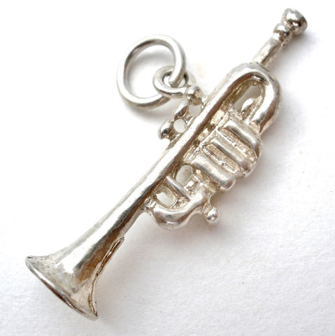 Trumpet Charm Pendant Sterling Silver