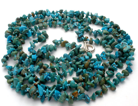 "Turquoise Nugget Bead Necklace 85"" Long SX"