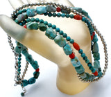 Turquoise Coral & Sterling Silver Bead Necklace - The Jewelry Lady's Store