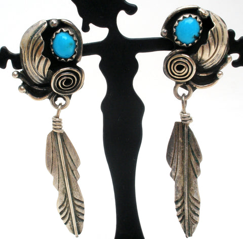 Turquoise Feather Earrings Sterling Silver
