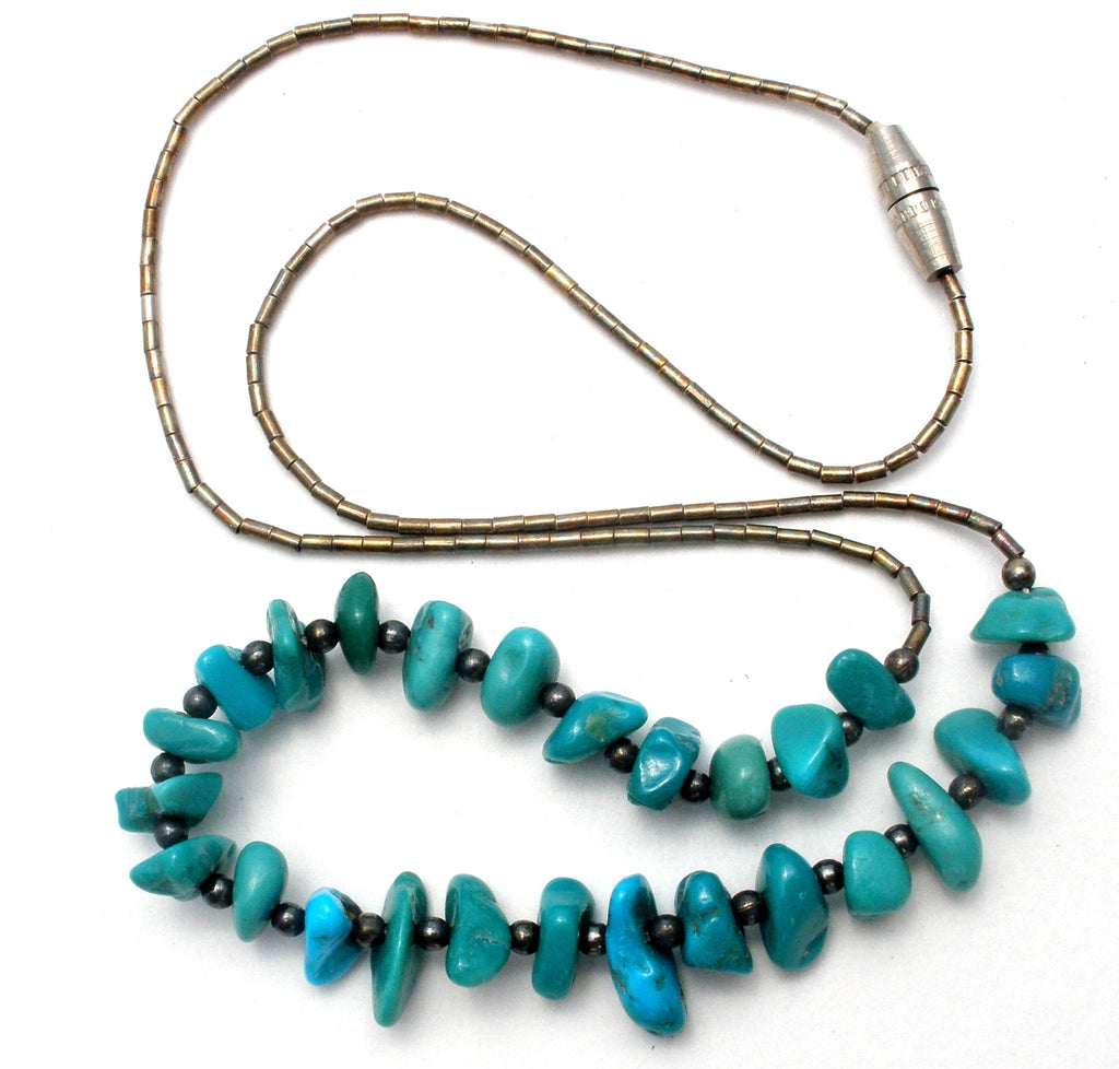 Turquoise Nugget Liquid Sterling Silver Necklace Vintage - The Jewelry Lady's Store