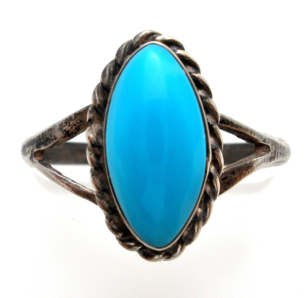 Turquoise Sterling Silver Ring Size 5 Vintage - The Jewelry Lady's Store
