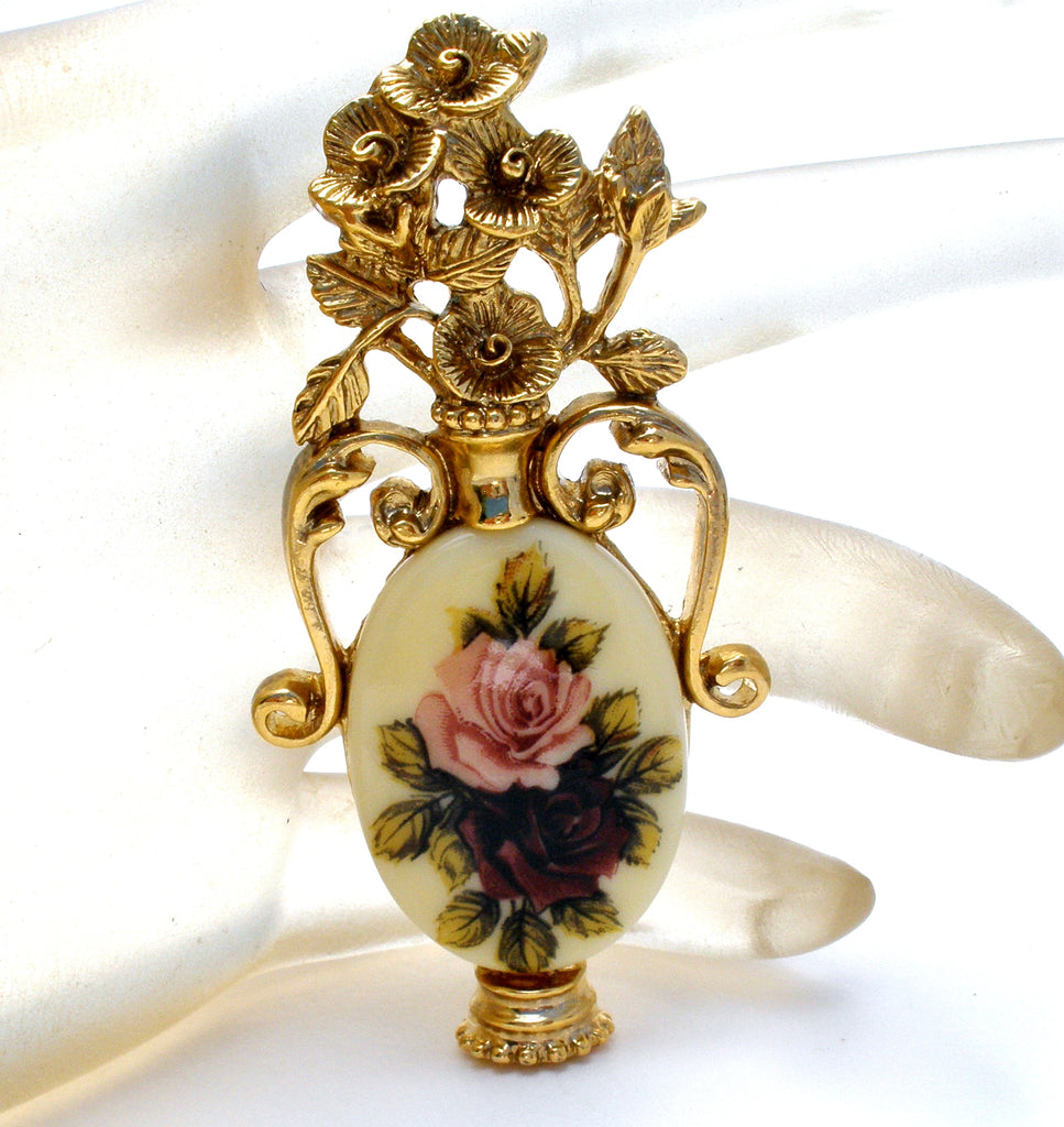 Vase Brooch with Roses by 1928 Co. - The Jewelry Lady's Store