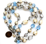 Vendome Blue Bead & Pearl Necklace Vintage - The Jewelry Lady's Store