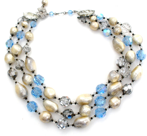 Vendome Blue Bead & Pearl Necklace Vintage