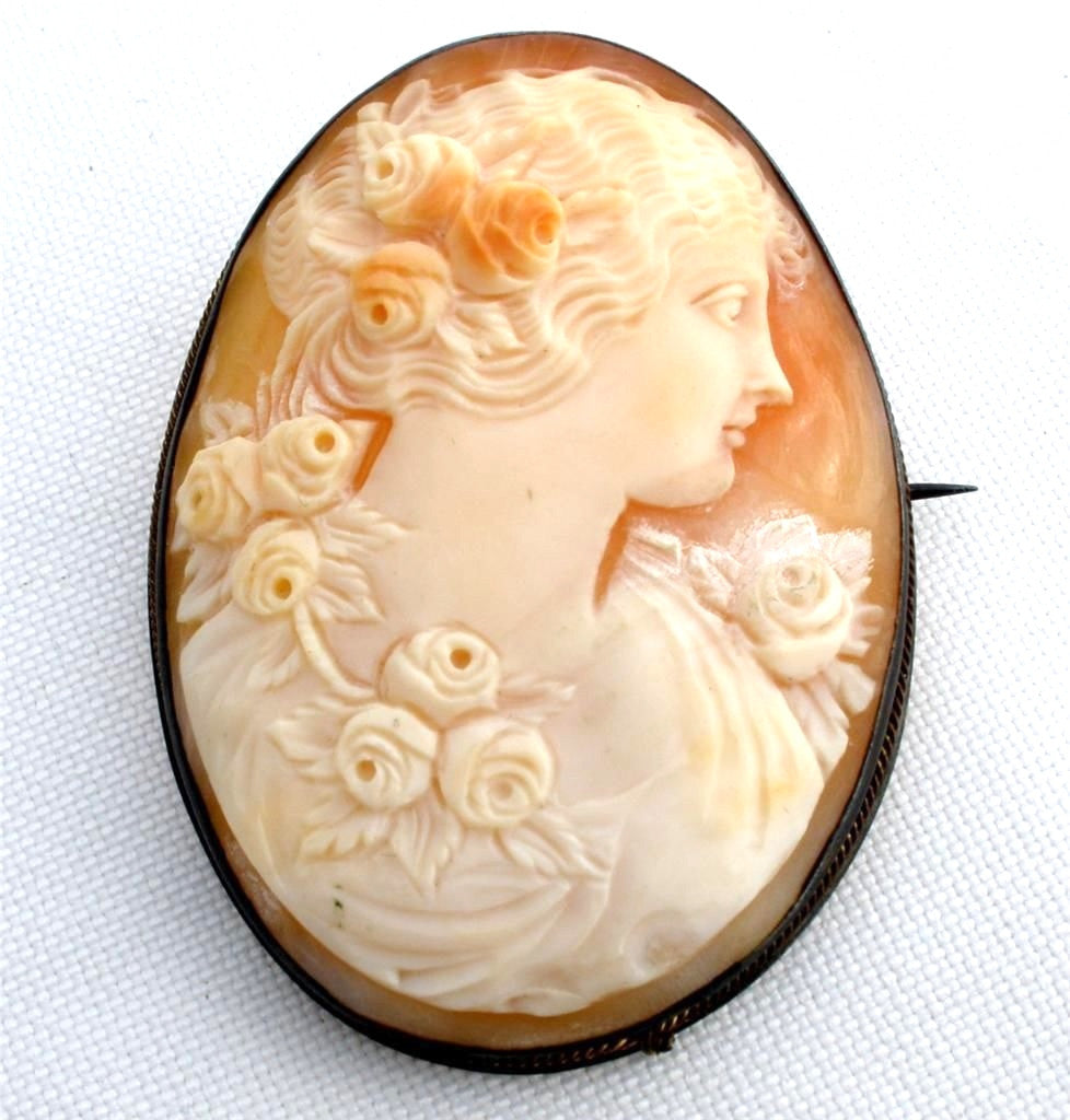 Victorian Cameo Brooch Carved Sterling Silver Frame Antique Pin - The Jewelry Lady's Store