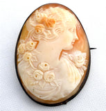 Victorian Cameo Brooch Carved Sterling Silver Frame Antique Pin - The Jewelry Lady's Store - 1