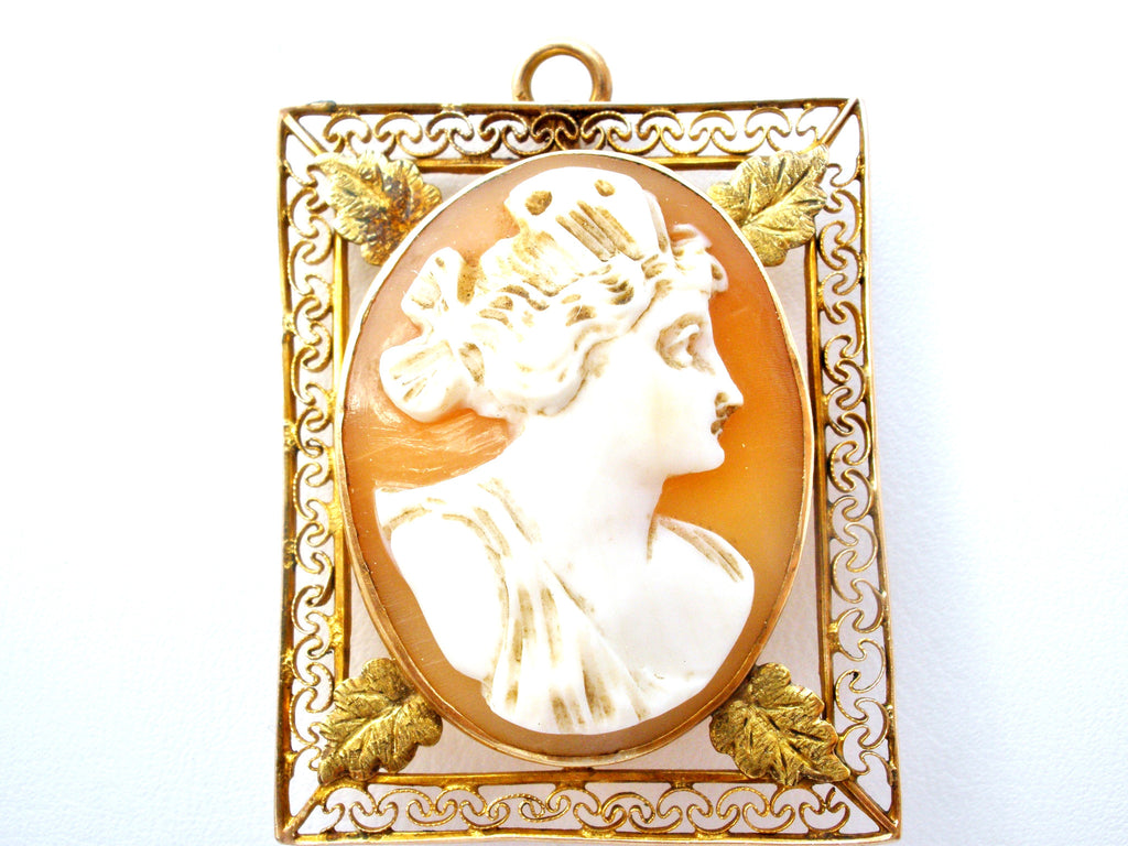 Cameo Pendant Brooch Victorian 10K Yellow Gold - The Jewelry Lady's Store