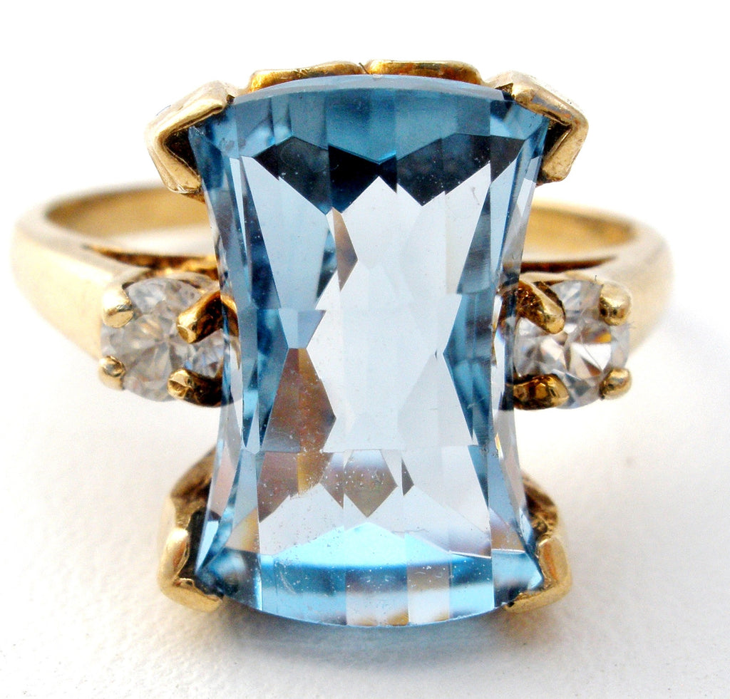Victorian Blue Topaz & White Sapphire 10K Gold Ring - The Jewelry Lady's Store