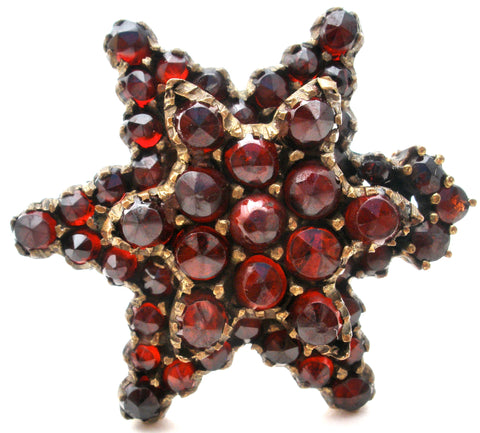 Victorian Garnet Star Gilt Brooch Pin