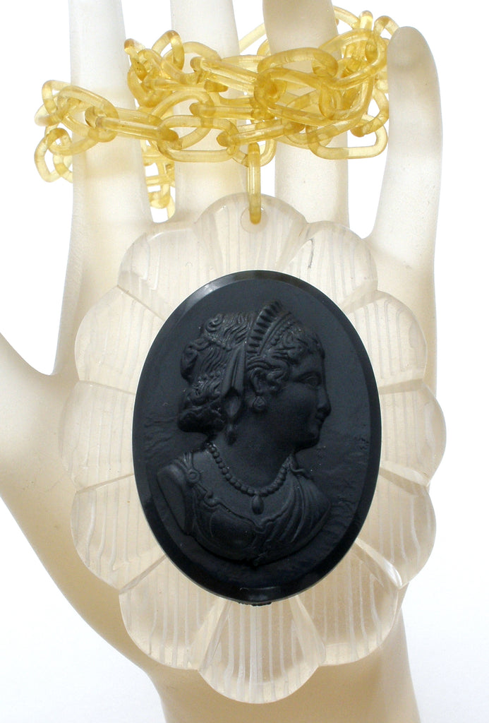Victorian Lavalier Celluloid Black Cameo and Chain - The Jewelry Lady's Store