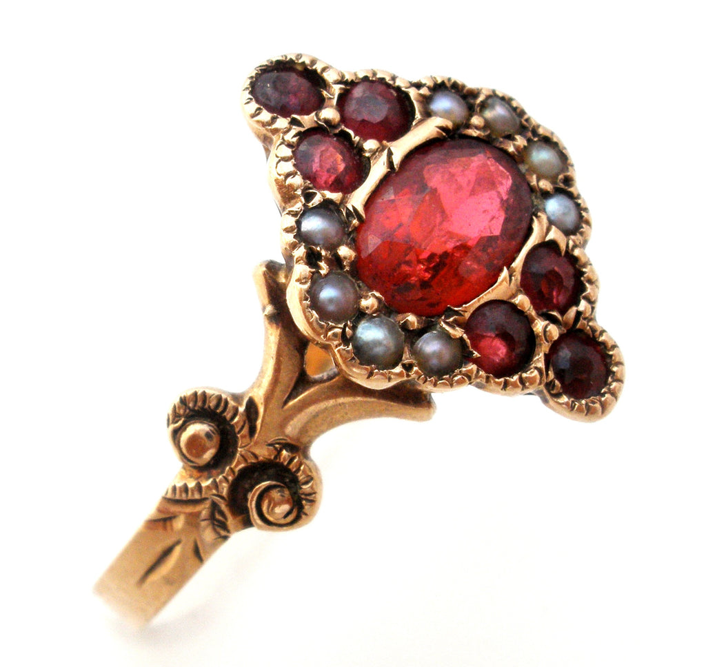 Victorian Ruby and Seed Pearl Ring Size 7.5 - The Jewelry Lady's Store