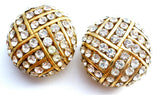 Vintage Ciner Clear Rhinestone Gold Earrings Clip On - The Jewelry Lady's Store - 1