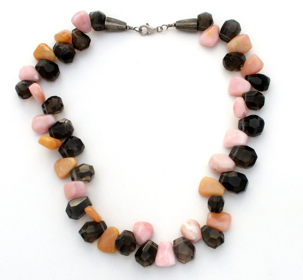 Rhodochrosite Smoky Quartz Banded Agate Necklace - The Jewelry Lady's Store