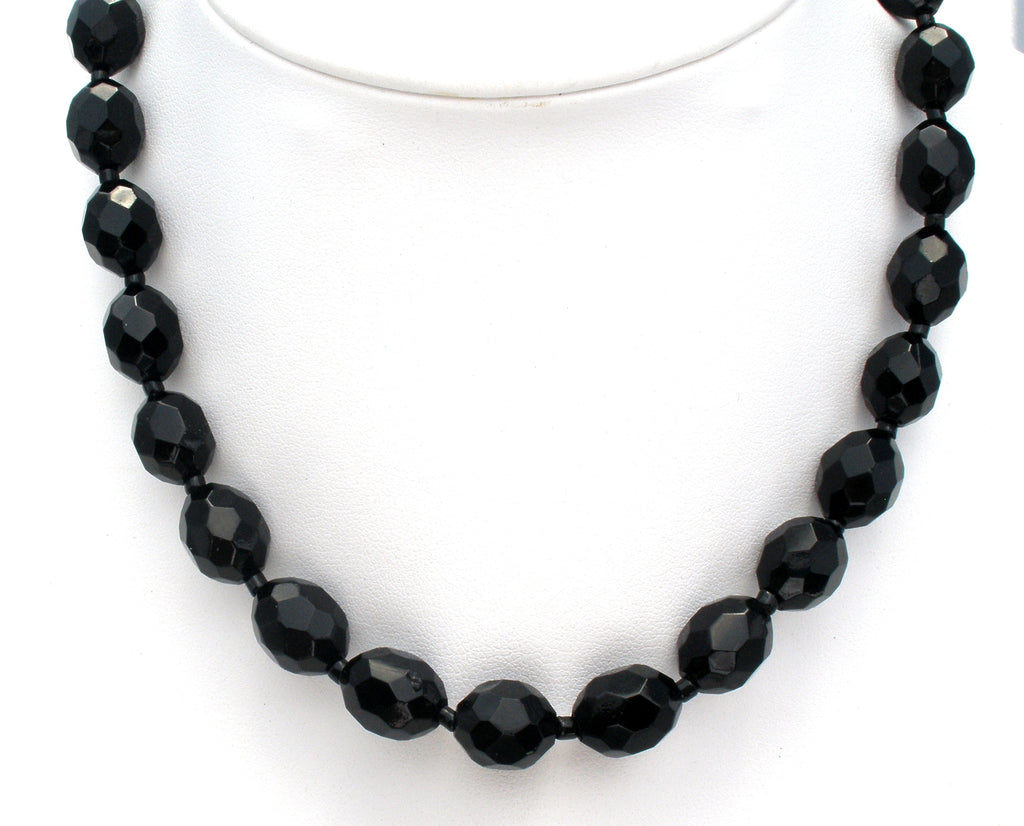 Vintage Black Glass Bead Necklace - The Jewelry Lady's Store